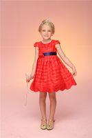 Wholesale High Quality Pure Cotton Summer Girl s dress Cap sleeve kids clothes girls princess Red tutu Festival performances A