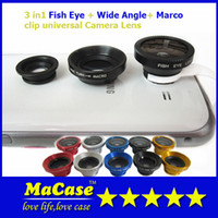 Cheap Universal C-clip 3IN1 180 Degree Camera Lens Kit Fisheye+wide angle+macro suitable for all kind of mobile phone lens with Retail Package