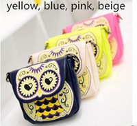 leather owl purse - New Arrive Personality cartoon owl bags one shoulder cross body bag small mobile phone bag coin purse