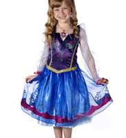 Cheap Summer dress 2014 tutu party anna princess clothes costume lace long sleeve purple flower kids girls brand New frozen dress 39329458170