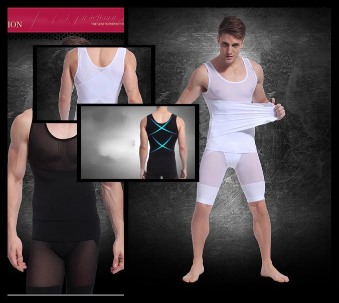 Men's Slimming Shirt Belly Buster Body Shaper Spandex Vest ...