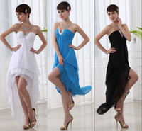 Cheap Ready to Wear Hi Lo Chiffon Short Prom Cocktail Party Dresses White Black Blue Beach Bridesmaid Gowns Cheap 2014 Free Shipping Under $50