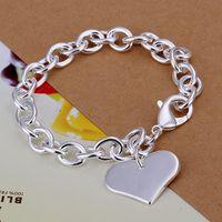 Wholesale Fashion Silver Links Chain Fit Peach heart Pendant Charm Bracelets Jewelry