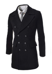 Wholesale men s slim fit double breasted wool duffle coat