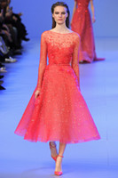 Real Photos Crew Tulle 2015 Elie Saab Long Sleeve Crew Sleeve Handmade Beads Evening Dress Appliqued Ankle Length A-line Tulle Pageant Dress With Belt