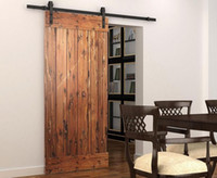 wood door - 6FT FT FT Rustic Black Sliding Barn Door Hardware Modern Double Barn Wood Door Hanging Track Kit