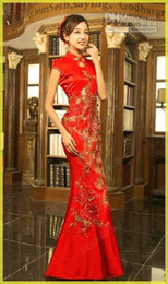 Wholesale 2014 Good Price Real Classical Red Chinese Embroidery cheongsam Dragon Phoenix Image Mermaid wedding dress Lady party Long Prom evening Dres