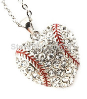 Wholesale fashion a rhodium plated heart baseball crystal sports pendant necklace A100085