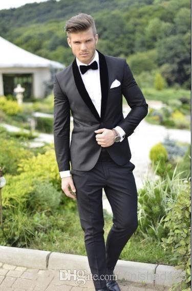 Custom Design Charcoal Grey Groom Tuxedos Black Lapel Best Man ...