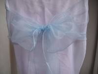 Wholesale light blue sashes snow organza chair sashes wedding sash