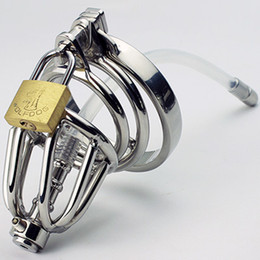 Wholesale Stainless Steel Chastity Cage with Hollow Removable Urethral Insert Tube Barbed Anti off Ring Master Bondage Gear SM Bondage Hood Device