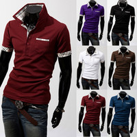 Cheap 2014 New Arrival Men's T-shirts Plaid Short Sleeve POLO Slim T-shirts 6 Colors Korean Stylish