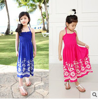 Wholesale New Girls Chevron Maxi Dress Children s Floral Summer Sundresses Bohemia Sytle Strapless Dress Kids Fashion Beach Dress Child Clothing
