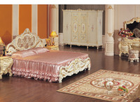No painted furniture - Hot selling french provincial bedroom furniture cracking paint king size bed
