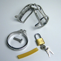 Male cock lock - Adult Sex Toy Male Chastity Device Penis Lock Cock Cage Stainless Steel Fetish Size Rings Choose Men Chastity Belt New Style