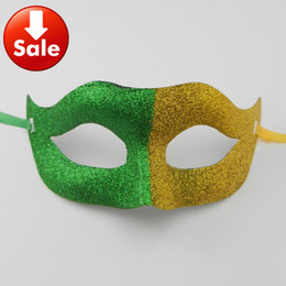 On Sale Brazil flag fans mask Half Face Party mask gold powder printing world cup mardi gras party costume carnival anonymous mask