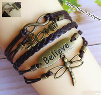 Wholesale more than styles Infinity leather bracelet Wraps bracelet Mixed