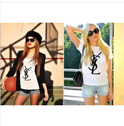 Wholesale Women s Cotton Loose Short Sleeve T Shirt Lady s Letter Short T Shirt Tops Multicolor S0612