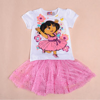 Cheap Sample Order One Piece Hot Girls' Dresses white T-shirt+pink dress Summer Baby Dress Baby Girl Clothes Kids Cartoon Clothes 30766