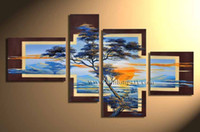 Cheap More Panel African canvas art Best Oil Painting Modern landscape oil painting