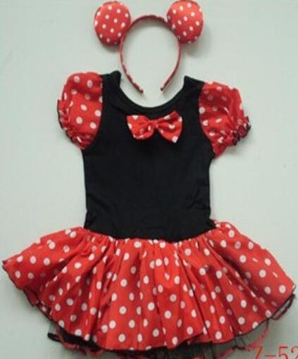 Cheap short sleeve mickey mouse dress cute children bow mickey mouse