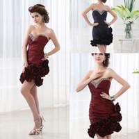 Cheap Cheap Under $50 Taffeta Short Prom Cocktail Dresses Handmade Flowers Mini Purple Burgundy Bridesmaid Bridal Party Gowns Ready to Wear 2014