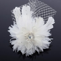 Cheap Feather Bridal Hair Accessories 2014 Hair Accessory Clip with Crystals Rhinestones White Hairpiece Flower Net Beaded Wedding Hair Flower
