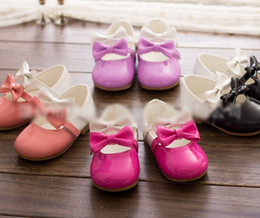 Wholesale Children Baby Girls Color Antiskid Party Shoes Toddle Cute Double Color Bowknot Princess Shoes Kid Girl Shoe Leather Shoe Yard I1443