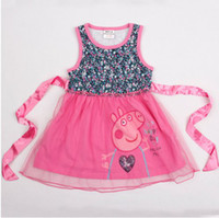 Cheap 2014 Hot Peppa Pig Shivering Cut Kid Children's Dresses Cotton Lace Belt Tutu Girl Skirt Baby Clothes