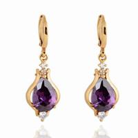 alternative jewelry - Retro Earring Women Lady Alternative Purple European Unique Hoop Punk Environmental Copper K Gold Plating Earring Jewelry ER0267 J Z