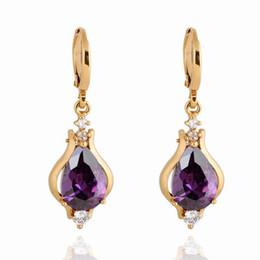 Wholesale Retro Earring Women Lady Alternative Purple European Unique Hoop Punk Environmental Copper K Gold Plating Earring Jewelry ER0267 J Z