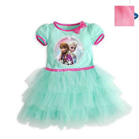 baby cakes yarn - Summer Baby Girl Frozen Princess Ball Gown Dress Short Sleeve Cake Net Yarn Children Cartoon Party Princess Dresses Kid s Clothes GX428
