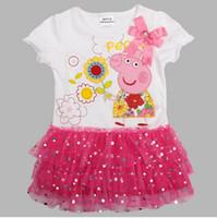 Cheap 2014 New Arrival Peppa Pig Paillette Lace Gilrs Dresses Cut Kid Children's Dresses Cotton Tee Shirt Tutu Girl Skirt Baby Clothes