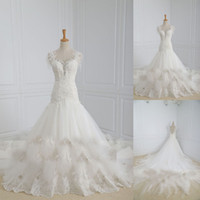 Cheap White Real Made Scoop Neckline Cap Sleeves Appliques Tulle Lace Mermaid Embroidery Chapel Train Arabic Wedding Dress 2014 Wedding Dresses