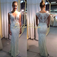 Cheap 2014 Sheer Lace Wedding Dresses Deep V Neck Mermaid Floor Length Zipper Back Berta Bridal Gowns