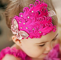 Cotton best hair bands - Fashion Baby Toddler Feather Flower Headband Infant Diamond Bow Headwear Hair Band Cute Kids Hair Accessories colors Best gifts