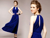 Wholesale 2014 Summer New Women s Casual Dresses Street Style Celebrity Formal Evening Dresses Halter Neck Blue Black Ankle Length Cotton Party Gowns