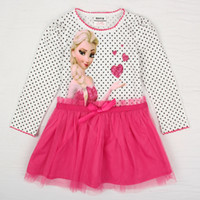 Wholesale nova New Frozen girl dress cartoon Elsa dress baby winter pink tulle tutu dress girls long sleeve polka dot dresses kids clothing H5081