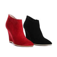 Wholesale 2014 New Arrival Women Genuine Leather Boot Lady Black Red Cashmere High Heel Fashion Boots