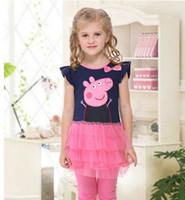 Cheap Blue&Pink Girls Peppa Pig Laciness Cut Kid Children's Bow Dresses Tee Cotton Tutu Girl Skirt Baby Clothes