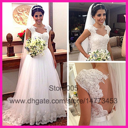 Wholesale 2014 Plus Size White Lace Sweetheart Cap Sleeves Sash Hollow A Line Bridal Wedding Dresses Gown Tulle Vestido De Renda W2985