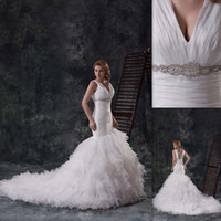 Wholesale 2015 Luxury Traditional Wedding Dress USA White Organza V neck Mermaid Chapel Train Lace Up Winter Bridal Gowns For Brides Hawaiian China