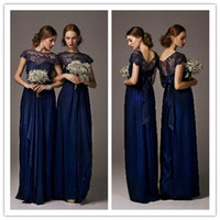 Wholesale LM Jubilant Navy Blue Long Junior Bridesmaid Dresses Sheer Lace Jewel Neckline Ribbon Cap Sleeves Wedding Girls Evening Party Gowns
