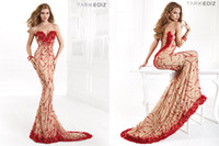 Cheap 2014 Applique Embroidery Sheath V-neck Backless Sleeveless Sweep Train Tulle Lace Tarik Ediz Evening Prom Dresses Pageant Party Gowns 92394
