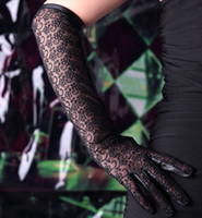 Wholesale Ladies genuine leather fashion glove black lace glove long lace black glove with soft velvet lining WG390