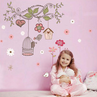 Wholesale Details about Cute Birdcage Flower Vines Mural Wall Stickers Vinyl Decal Kids Nursery Decor