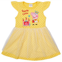 Cheap Summer Yellow Dot Peppa Pig Cute Kid Children's Cartoon Dresses Double Layer Laciness Tee Cotton Tutu Girl Skirt Baby Clothes