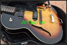 Wholesale OEM China Guitar New Arrival Sunset colored maple veneer ES JAZZ Guitar one piece neck No Scarf