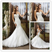 2015 Sexy Sweetheart Mermaid Wedding Dresses Court Train Org...