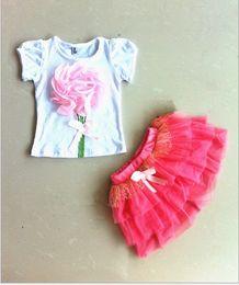 1set Retail HOT Summer Pretty 3D Pattern Flower T Shirt + Tutu Skirt 2pcs Baby Girl Set New Arrival Children Skirt Suit Kid's Clothing GX442